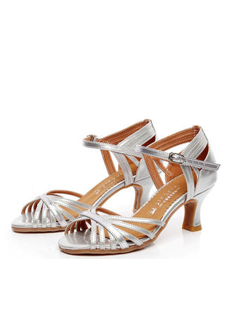 Frauen Latin Heels Sandalen Echtleder mit Knöchelriemen Tanzschuhe
