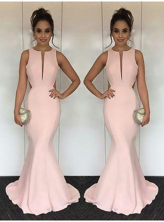 Newest Satin Evening Dresses Trumpet/Mermaid Sweep Train Scoop Neck Sleeveless