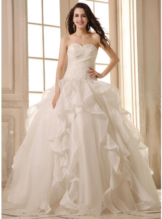 Sweetheart Ball-Gown Wedding Dresses Satin Organza Beading Appliques Lace Cascading Ruffles Sleeveless Floor-Length