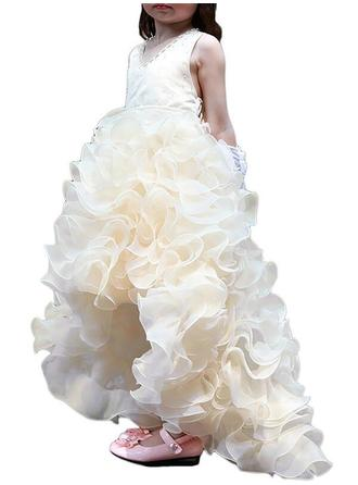 V-neck Ball Gown Flower Girl Dresses Organza/Satin Ruffles/Beading Sleeveless Asymmetrical