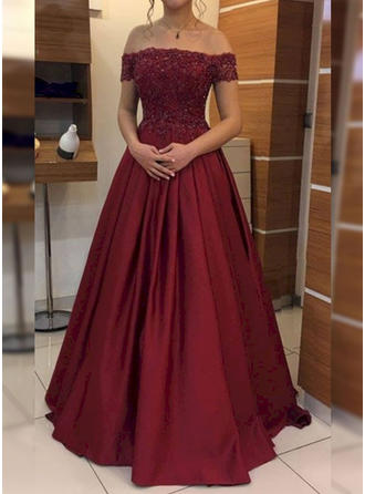 Delicate Satin Prom Dresses Ball-Gown Floor-Length Off-the-Shoulder Sleeveless