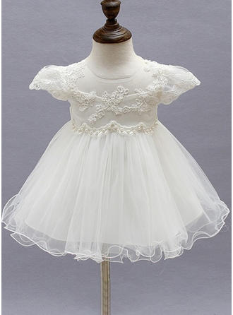 Tulle Scoop Neck Beading Flower(s) Baby Girl's Christening Gowns With Short Sleeves