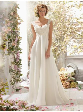 A-Line/Princess V-neck Sweep Train Wedding Dresses With Lace Beading