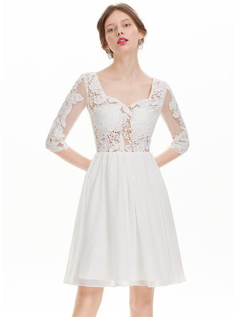 Newest Chiffon Prom Dresses A-Line/Princess Knee-Length Sweetheart 1/2 Sleeves