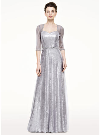 A-Line/Princess Tulle Sequined 1/2 Sleeves Sweetheart Floor-Length Zipper Up Mother of the Bride Dresses