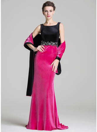 Trumpet/Mermaid Velvet Sleeveless Square Neckline Sweep Train Zipper Up Mother of the Bride Dresses