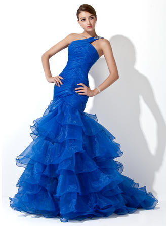 Trumpet/Mermaid One-Shoulder Sweep Train Prom Dresses With Beading Cascading Ruffles
