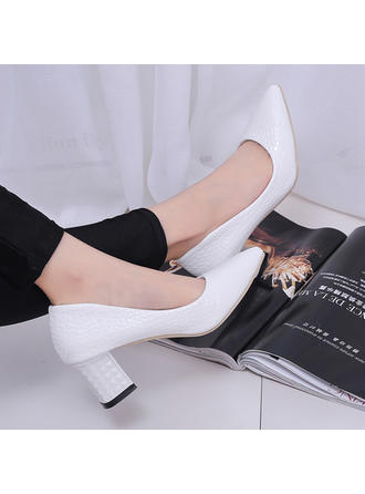Women's Pumps Chunky Heel Leatherette No Wedding Shoes