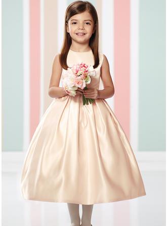 קו-A/נסיכה צווארון סקופ אורך-קרסול Satin/Lace שמלה לילדות הטקס
