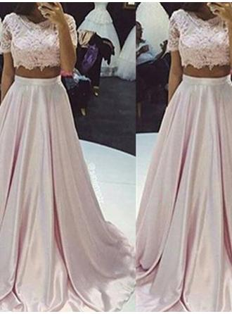 Fashion Scoop Neck A-Line/Princess Taffeta Prom Dresses