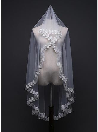 Einschichtig Spitze Saum Ellenbogen Braut Schleier mit Applikationen