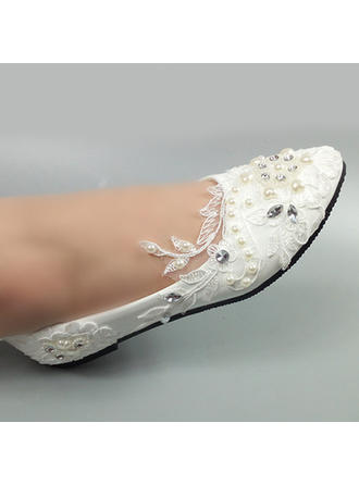Women's Closed Toe Pumps Patent Leather With Rhinestone Stitching Lace No Wedding Shoes