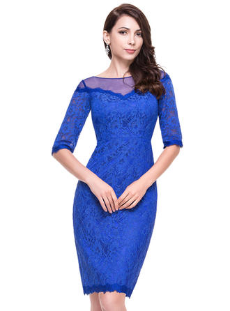 Sheath/Column Scoop Neck Lace 1/2 Sleeves Knee-Length Cocktail Dresses