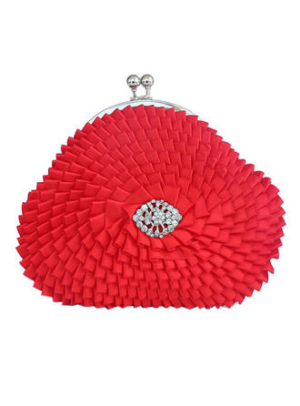 Clutches Wedding/Ceremony & Party Satin Magnetic Closure Unique Clutches & Evening Bags