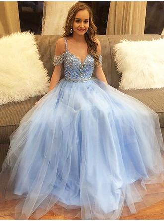 A-Line/Princess Off-the-Shoulder Floor-Length Tulle Prom Dress With Beading (018210927)