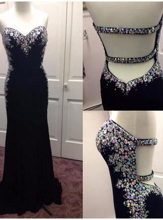 Chiffon Sleeveless Sheath/Column Prom Dresses Sweetheart Sequins Sweep Train