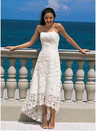 Chic Asymmetrical A-Line/Princess Wedding Dresses Strapless Lace Sleeveless (002144598)