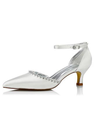 Vrouwen Satijn Low Heel Pumps Verfbare Schoenen met Strass