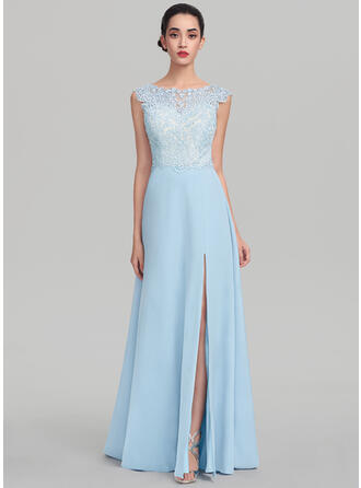 A-Line/Princess Scoop Neck Sweep Train Stretch Crepe Evening Dress With Split Front
