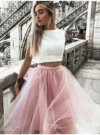 Scoop Neck A-Line/Princess Tulle Magnificent Homecoming Dresses