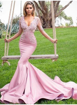 Trumpet/Mermaid Charmeuse Prom Dresses Fashion Sweep Train V-neck Long Sleeves