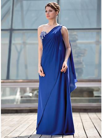Vestidos princesa/ Formato A Tecido de seda Sem magas Um ombro Longos Zipper ao lado Vestidos para a mãe da noiva