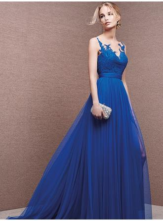 Empire Scoop Neck Sweep Train Evening Dresses With Lace Sash Appliques Lace
