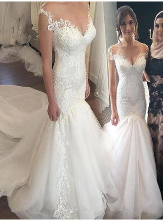 Appliques Off-The-Shoulder Trumpet/Mermaid - Tulle Wedding Dresses
