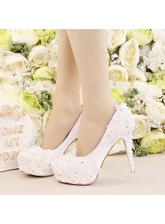 Women's Platform Pumps Stiletto Heel Satin With Flower Lace-up Wedding Shoes