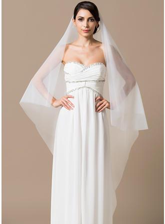 طبقة واحدة حجاب زفاف والتز مع قَصة حافة