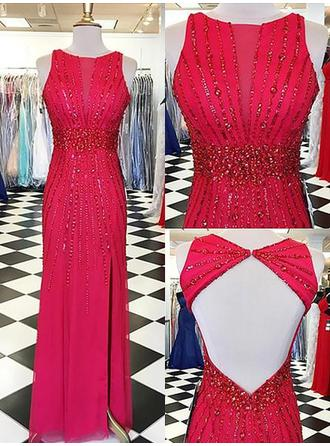 Chiffon Sleeveless Sheath/Column Prom Dresses Scoop Neck Beading Floor-Length