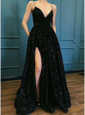 Sequined Sleeveless A-Line/Princess Prom Dresses V-neck Split Front Floor-Length