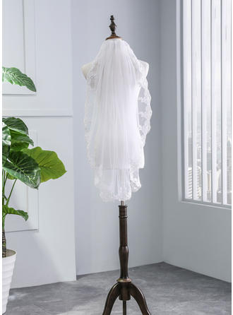 One-tier Lace Applique Edge Elbow Bridal Veils With Lace (006141341)
