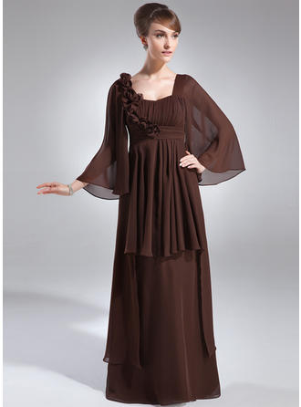 Chiffon 3/4 Sleeves Mother of the Bride Dresses Scoop Neck Empire Ruffle Flower(s) Floor-Length