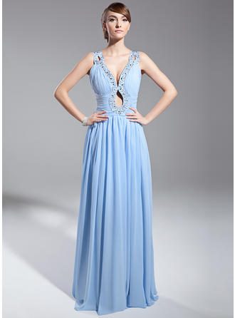 Elegant Chiffon A-Line/Princess Zipper Up Evening Dresses