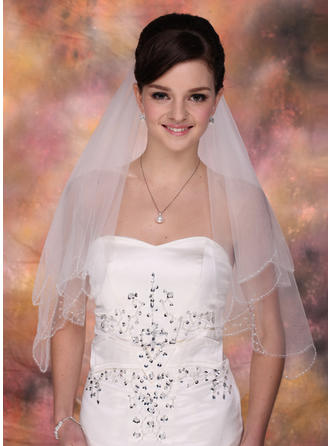 Ellenbogen Braut Schleier Tüll Zweischichtig Klassische Art mit Perlenbesetzter Saum Brautschleier