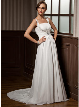 Flattering Court Train A-Line/Princess Wedding Dresses Scoop Chiffon Sleeveless