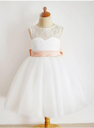 A-Line/Princess Scoop Neck Ankle-length With Sash/Bow(s) Tulle/Lace Flower Girl Dress