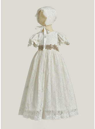 A-Line/Princess Scoop Neck Floor-length Lace Christening Gowns With Beading