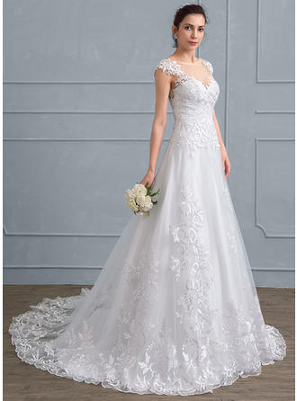 Tulle Lace A-Line/Princess With Gorgeous General Plus Wedding Dresses