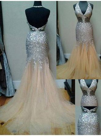 Elegant マーメイド Vネック チュール プロム用ドレス (018144677)