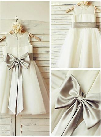 A-Line/Princess Scoop Neck Knee-length With Bow(s) Tulle Flower Girl Dresses