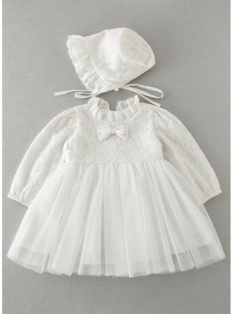 Tulle Lace Peter Pan Collar Baby Girl's Christening Gowns With Long Sleeves