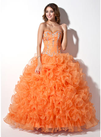 Ball-Gown Sweetheart Floor-Length Organza Prom Dress With Beading Appliques Lace Sequins Cascading Ruffles