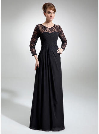 Chiffon Lace Long Sleeves Mother of the Bride Dresses Scoop Neck A-Line/Princess Ruffle Floor-Length