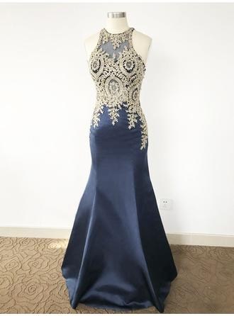 Trumpet/Mermaid Scoop Neck Sweep Train Satin Prom Dress With Beading