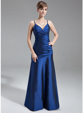 Taffeta Sleeveless A-Line/Princess Bridesmaid Dresses V-neck Ruffle Floor-Length