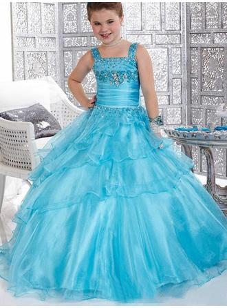 Ball Gown Straps Floor-length With Ruffles/Beading/Bow(s) Organza/Satin Flower Girl Dresses
