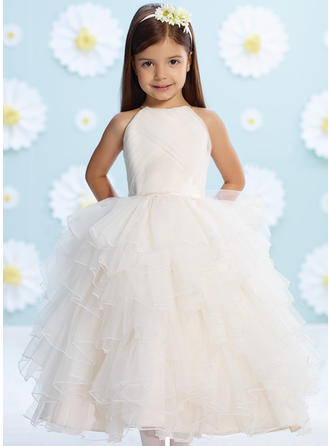 A-Line/Princess Scoop Neck Tea-length With Beading/Flower(s) Organza/Satin/Tulle Flower Girl Dresses