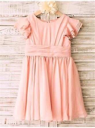 Scoop Neck A-Line/Princess Flower Girl Dresses Chiffon Pleated Sleeveless Knee-length